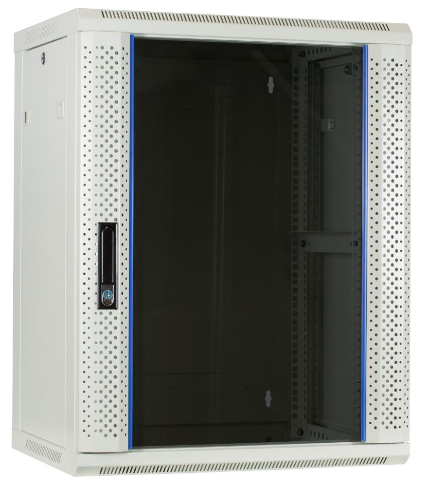 Afbeelding van 15 HE Serverschrank, Wandgehäuse, mit Glastür, Weiß, (BxTxH) 600 x 450 x 770mm