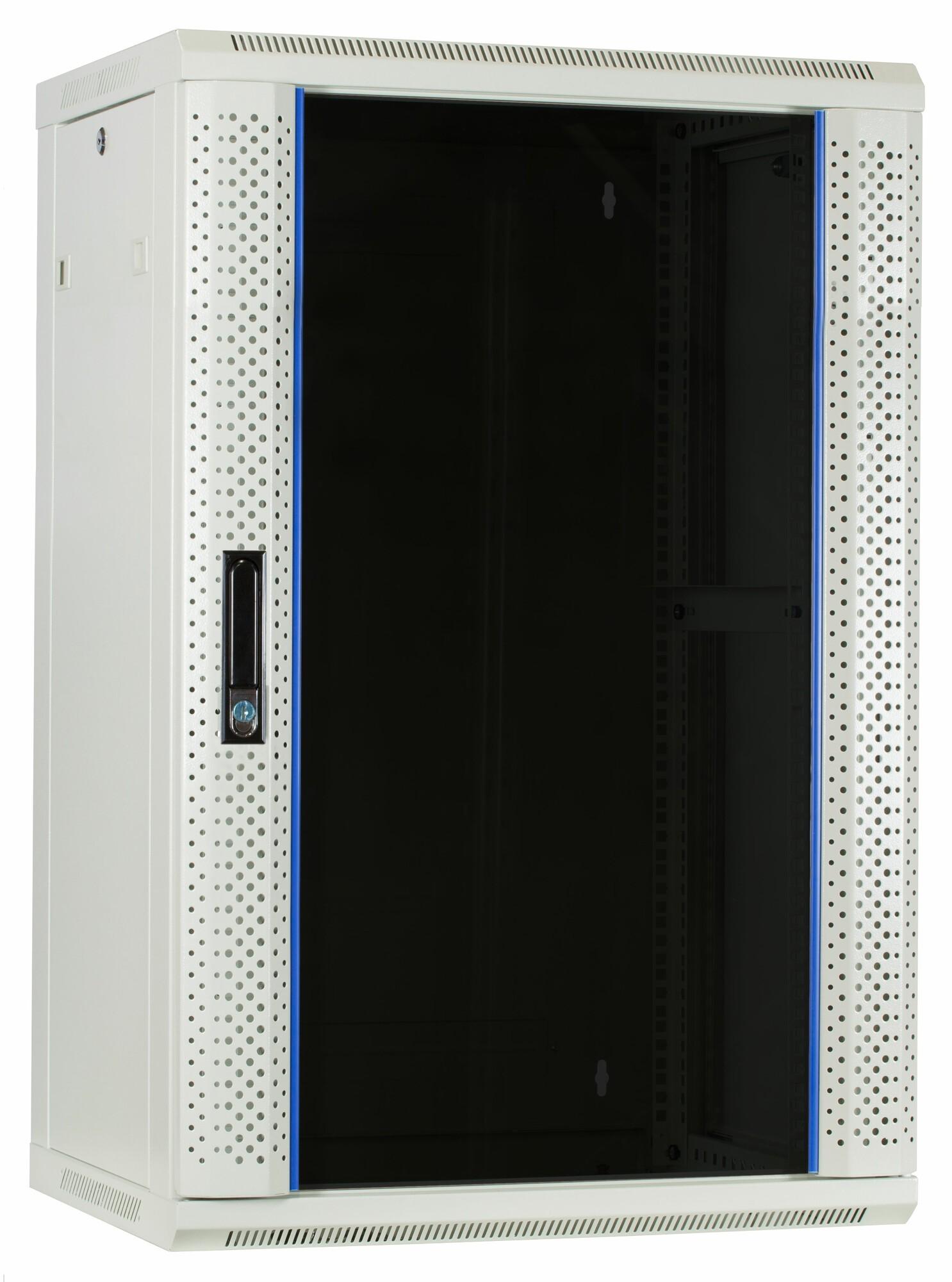 Afbeelding van 18 HE Serverschrank, Wandgehäuse, mit Glastür, Weiß, (BxTxH) 600 x 450 x 900mm