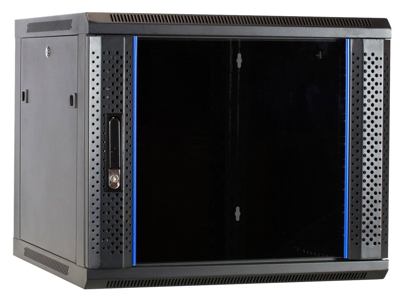 """Afbeelding van 9 HE Serverschrank, 19"""" Wandgehäuse mit Glastür, nicht vormontiert (BxTxH) 600 x 600 x 501mm"""