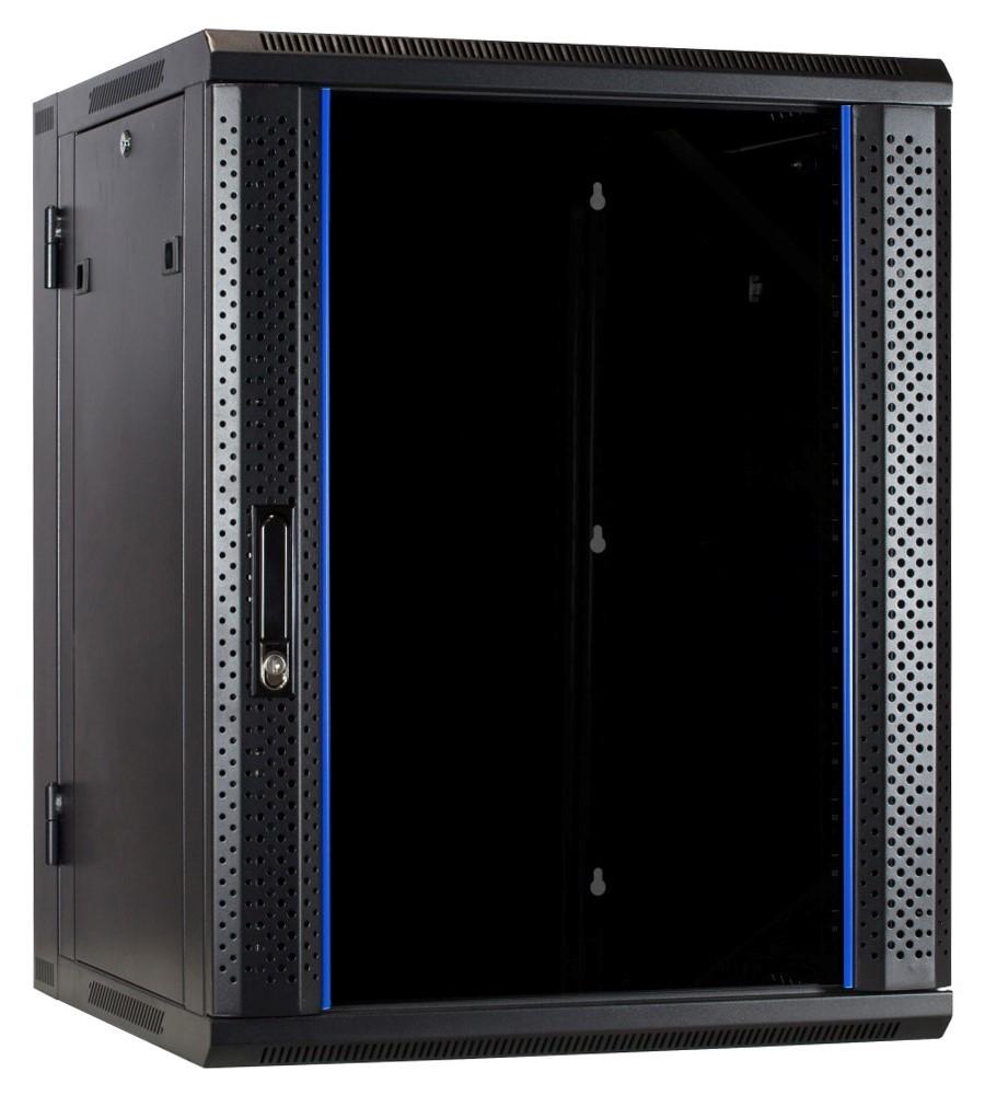 Afbeelding van 15 HE Serverschrank, wendbares Wandgehäuse mit Glastür (BxTxH) 600 x 600 x 770mm