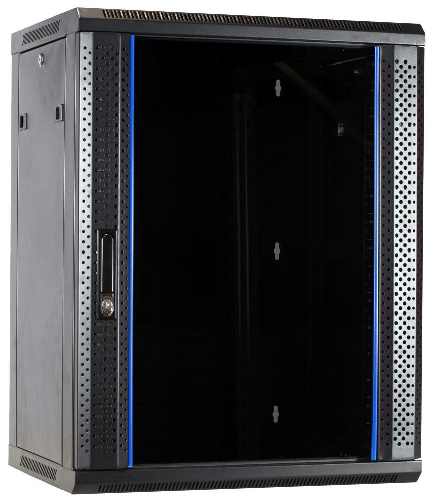 Afbeelding van 15 HE Serverschrank, Wandgehäuse mit Glastür, nicht vormontiert (BxTxH) 600 x 600 x 770mm