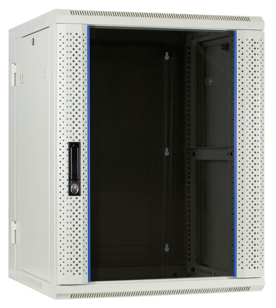Afbeelding van 15 HE Serverschrank, wendbares Wandgehäuse mit Glastür, Weiß (BxTxH) 600 x 600 x 770mm