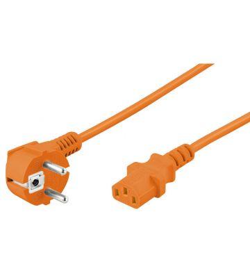 Stromkabel mit Schukostecker und  Gerätebuchse C13 – Orange - 5 Meter