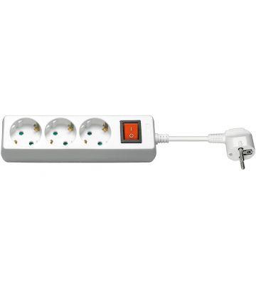 Steckdosenleiste mit Schalter - 3x Schutzkontakt - Weiß- 3 Meter