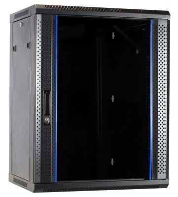 15 HE Serverschrank, Wandgehäuse, mit Glastür, nicht vormontiert (BxTxH) 600 x 450 x 770 mm