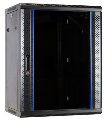 15 HE Serverschrank, Wandgehäuse, mit Glastür (BxTxH) 600 x 450 x 770 mm