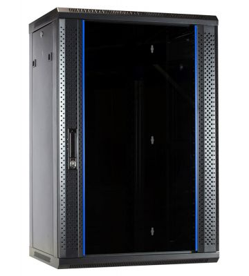 18 HE Serverschrank, Wandgehäuse, mit Glastür, nicht vormontiert (BxTxH) 600 x 450 x 900 mm