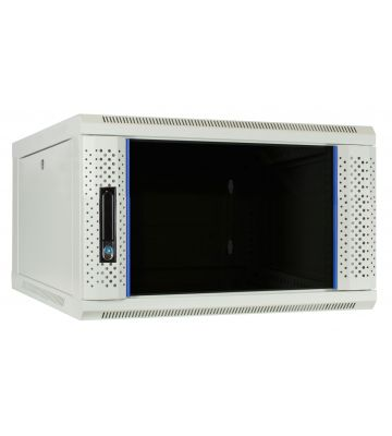 6 HE Serverschrank, Wandgehäuse mit Glastür, Weiß, (BxTxH) 600 x 600 x 368mm