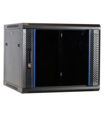 """9 HE Serverschrank, 19"""" Wandgehäuse mit Glastür, nicht vormontiert (BxTxH) 600 x 600 x 501mm"""