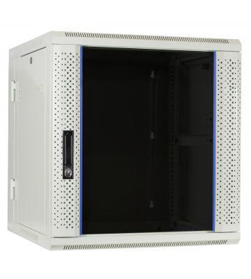 12 HE Serverschrank, wendbares Wandgehäuse mit Glastür, Weiß (BxTxH) 600 x 600 x 635mm