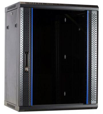 15 HE Serverschrank, Wandgehäuse mit Glastür, nicht vormontiert (BxTxH) 600 x 600 x 770mm