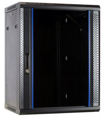 15 HE Serverschrank, Wandgehäuse mit Glastür (BxTxH) 600 x 600 x 770mm