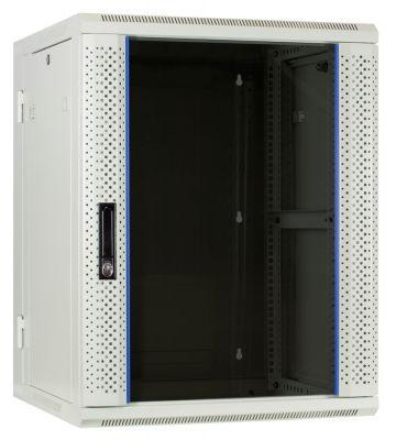 15 HE Serverschrank, wendbares Wandgehäuse mit Glastür, Weiß (BxTxH) 600 x 600 x 770mm