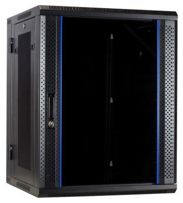 15 HE Serverschrank, wendbares Wandgehäuse mit Glastür und perforierten Seitenwänden (BxTxH) 600 x 600 x 770mm
