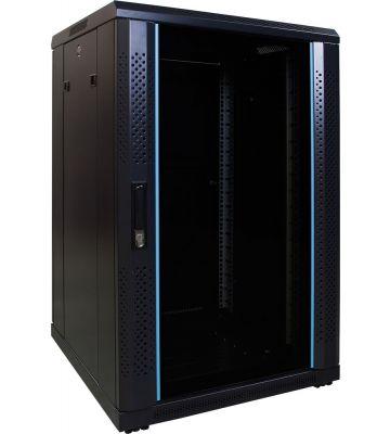 "18 HE 19"" Serverschrank, mit Glastür (BxTxH) 600 x 600 x 1000mm"