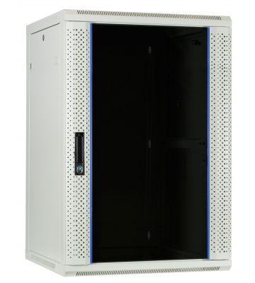 18 HE weißer Serverschrank, Wandgehäuse mit Glastür (BxTxH) 600 x 600 x 900mm