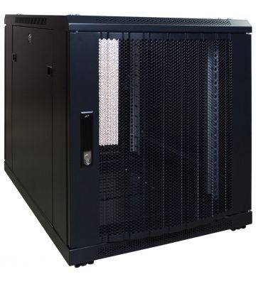 12 HE, kleiner Serverschrank, mit perforierter Fronttür (BxTxH) 600 x 600 x 720 mm