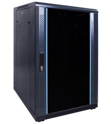 """18 HE 19"""" Serverschrank, mit Glastür, unmontiert (BxTxH) 600 x 800 x 1000mm"""