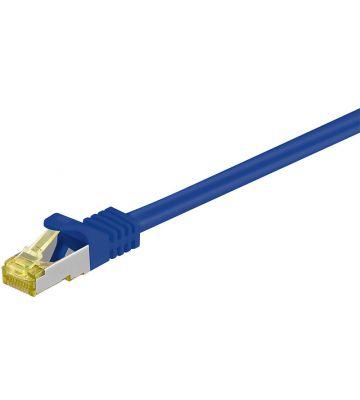 RJ45 Netzwerkkabel S/FTP (PiMF), mit CAT 7 Rohkabel, Blau, 0,25m