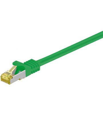 RJ45 Netzwerkkabel S/FTP (PiMF), mit CAT 7 Rohkabel, Grün, 1m