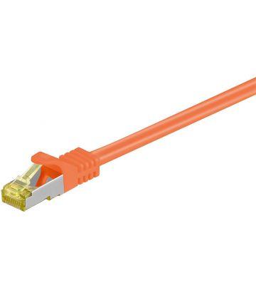 RJ45 Netzwerkkabel S/FTP (PiMF), mit CAT 7 Rohkabel, Orange, 0,25m