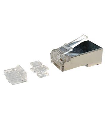 CAT6a Stecker RJ45 geschrimt mit Hilfstück - für flexible Kabel