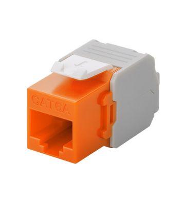 CAT6a UTP Keystone Netzwerkstecker - Toolless - Orange