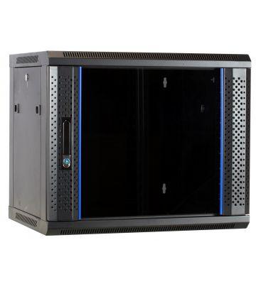 9 HE Serverschrank, Wandgehäuse, mit Glastür, nicht vormontiert (BxTxH) 600 x 450 x 500mm