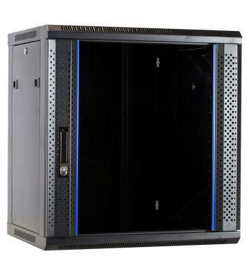 12 HE Serverschrank, Wandgehäuse, mit Glastür, nicht vormontiert (BxTxH) 600 x 450 x 634mm