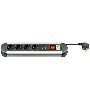 Steckdosenleiste mit Überspannungsschutz - 4x Schutzkontakt - Schwarz - 1,5 Meter