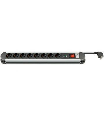 Steckdosenleiste mit Überspannungsschutz - 8x Schutzkontakt - Schwarz - 1,5 Meter