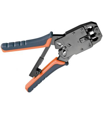 Professionale Crimp Zange für RJ 45 Stecker mit Kabelschneider und Abisolierer