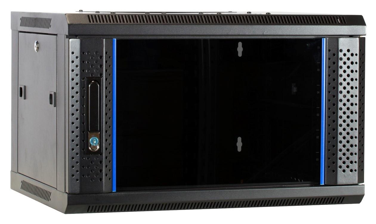 Afbeelding van 6 HE Serverschrank, Wandgehäuse, mit Glastür, nicht vormontiert (BxTxH) 600 x 450 x 367mm